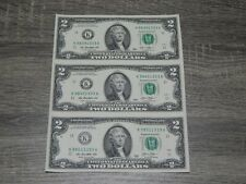 UNCUT SHEET OF (3) $2 TWO US DOLLAR BILLS, NOTES, MONEY, & CURRENCY BRAND -NEW-