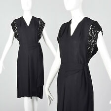 XS 1940s Black Rayon Dress Sequin Trim Sleeves Cocktail Party Evening LBD 40s
