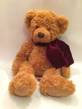 Russ Berrie Teddy Bear Timber Stuffed Animal Toy w/ Burgundy Scarf
