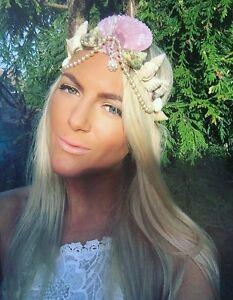 Purple Sea Shell Mermaid Crown Pearl Hair Head Band Choochie Beach Hippy Boho