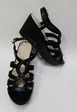 Franco Sarto Shoes Sandals Wedge Heels Strappy Black Womens Size 7M
