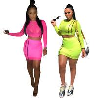 Women long sleeves mesh sheer bodycon club party casual skirts set mini dress