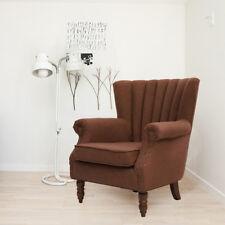 Vintage Grey /Blue /Brown Linen Grandpa Chair Armchairs Sofa Comfy Foam Fill