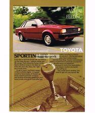 1982 Toyota Corolla Red 2-door Sports Hardtop Vtg Print Ad