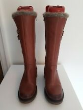 Cubanas Brown Leather Faux fur trim Winter Boots Uk 2 EU 35