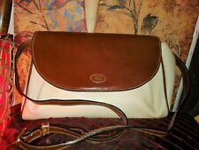 Vintage Women Crossbody Bag Bally Italian Ivory Leather Brown Flap Cover Closure