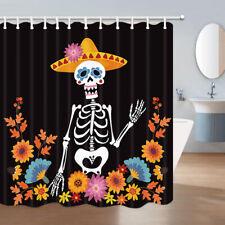 Skeleton in Mexican Flowers Fabric Shower Curtain Bathroom Waterproof 71*71 inch