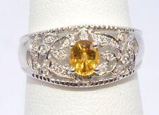 3035-14K WHITE GOLD DIAMOND & YELLOW SAPPHIRE RING 3.5GRAMS APPRX 0.62TCW SIZE 7