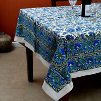 Hand Block Print Cotton Floral Tablecloth for Square Tables 60x60 in Blue Green