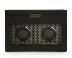 WOLF Axis Double 469303 Watch Winder with Storage- Powder Coat Black - FREE SHIP