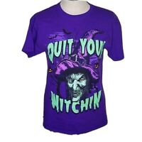 Quit Your Witchin! Halloween Witch Purple T-Shirt Sz Adult M MEDIUM Women Bin16