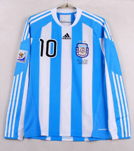 2010 Argentina Home No.10 MESSI L/S 2010 WorldCup Player Issue Mexico Jersey