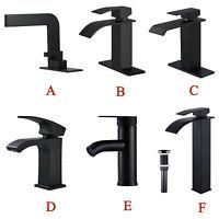 Matte Black Bathroom Sink Faucet Single Handle Hole Waterfall Vanity Basin Mixer