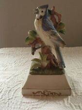 """Porcelain Blue Jay Figure Music Box Plays """"Love is a Many Splendored Thing"""""""