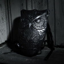 ByTheR Urban Goth Fashion Unique Black Faux Leather Owl Embossing BackPack UK