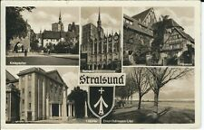 """Ansichtskarte Stralsund """"Knieptor, Museum, Theater, Rathaus, Thälmann Ufer"""" s/w"""