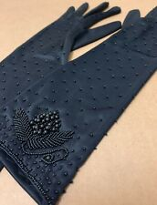 "Vintage Gloves long 15"" black fancy beaded 100% Nylon Simplex 7 1/2 Hong Kong"