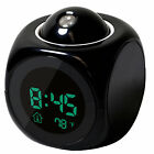 LCD Vibe Talking Projection Alarm Clock Time & Temp Display Black Multi-function