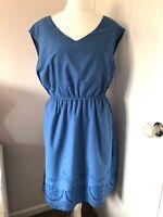 Poem By Oliver Bonas Blue Dress Size 16 Sleeveless Shift Pockets Embroidery