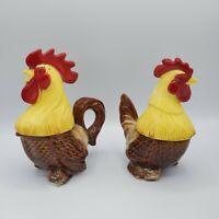 VTG 1951 Riddell California Pottery Roosters Salt & Pepper Cream & Sugar Set