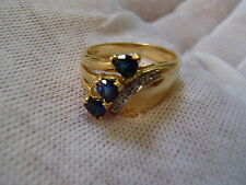 LeVian 18k Yellow Gold 3 Stone Sapphire with Diamond Accent Ring