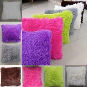 Fluffy Plush Square Pillow Case Sofa Waist Throw Cushion Cover Home Decor Gift