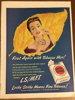 "10x14"" Vintage 1949 Lucky Strike Cigarettes Tobacco First Again W/ Men Print Ad"