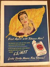 "10x14"" Vintage 1949 Lucky Strike Cigarettes Tobacco First Again W/ Men Print Ad"