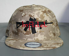 DESERT CAMO INFIDEL AR 15 HAT FLAT BILL SNAPBACK CAP DIGI CAMOUFLAGE GUN MILTARY