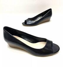 Cole Haan Womens Black Leather Open Toe Wedge Heels Size 7.5 B