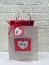 Valentine red & white gift bag and tags can be personalised