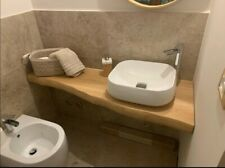 Mensola Sospesa per Lavabo Design in Rovere Massello, bordo irregolare