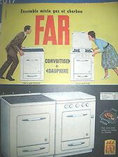 PUBLICITE DE PRESSE FAR CUISINIERE GAZ ET CHARBON FRENCH ADVERTISING 1960