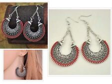 Long Drop Earrings Ethnic Tribal Aztec Hippy Boho Dangle Round Red Party Tibetan
