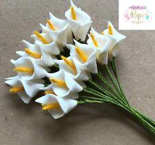 12 White Quality Mini Foam Calla Lilies Card Making Craft Wedding Invitations