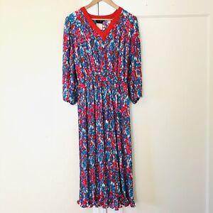 Diane Freis Original Polka Dot Pleated Floral Vintage 80s Georgette Dress