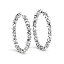 2.75 Carat White Diamond G-SI2 Fancy Hoop Huggie Earrings 14k White Gold Gift