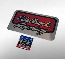 EDELBROCK racing 3D domed Sticker decal chrome silver MADE IN USA (carburetor)