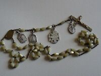 Lot 4 ancien Médailles Chapelet Rosary White Beads   Mary Jesus   Cross  M 56