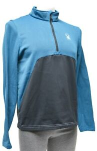 Spyder Capital Fleece 1/2 Zip Hard Face Jacket Men MEDIUM Blue Ski Hike Outdoors