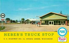 Gas Station pumps Herber's Truck Stop Spring Green Wisconsin 1950s Postcard 6954
