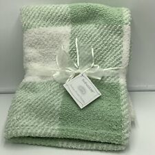 Baby Gear Green White Plaid Chenille Blanket Checked New