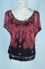 INC Womens XS Red Black Paisley Loose Fitted Waist 2 Piece Semi Sheer & Tank Set