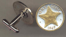 Gold And Silver Bahamas 1 Cent Starfish Coin Cuff Links, 153CF