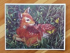 Alu-Bild Rehkitz+ Wiese,16x21 cm, Alubild Bambi+Schmetterling, Reh Hirsch,Wald