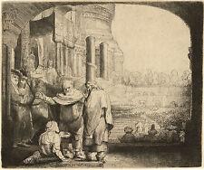 Rembrandt Etching Reproduction: Peter & John Healing Cripple -  Fine Art Print