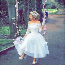 Vintage Tea-Length Off-Shoulder 3/4 Sleeves Wedding Dress Lace Tulle Bridal Gown