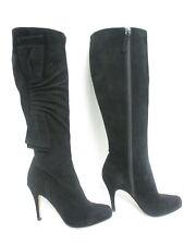 VALENTINO black suede bow detail hidden platform knee high boots sz 37