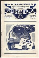More details for burnley v liverpool 1947 f.a cup semi final replay match programme - 12/04/1947