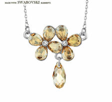 Swarovski Element Sparkly Champagne Gold Crystal Stone Choker Necklace Pendant